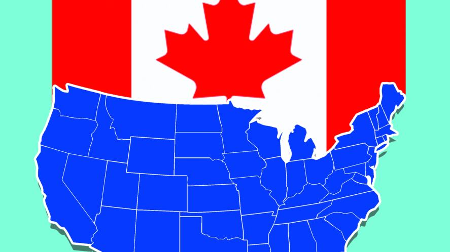 A map of the USA and the Canada flag