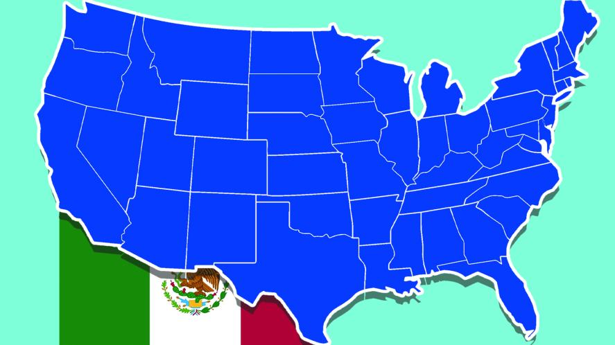 A map of the USA and the flag of Mexico