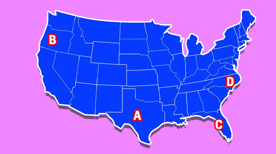 A map of the USA – but where is Florida?