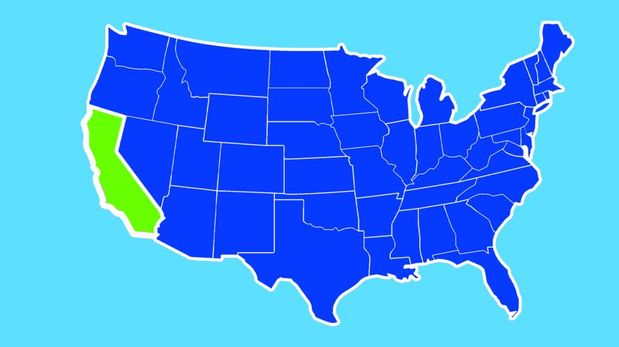 California highlighted on a USA map