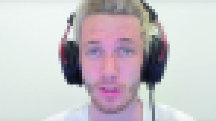 A pixelated image of a YouTube gamer