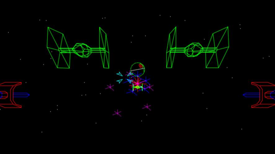 A screenshot from the Star Wars arcade game