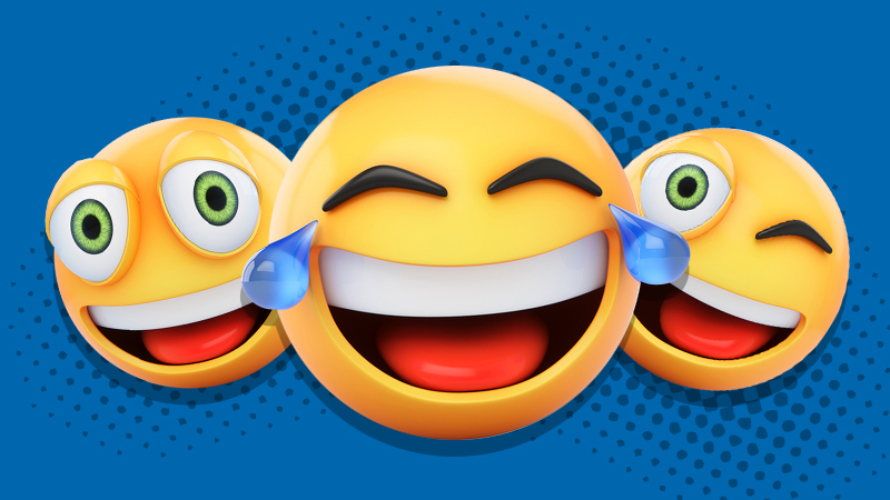 Three laughing emojis in front of a blue background