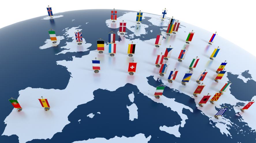 An outline of Europe featuring each country's flag