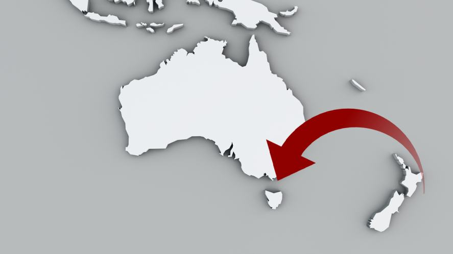 An arrow pointing to an island off the coast of Australia