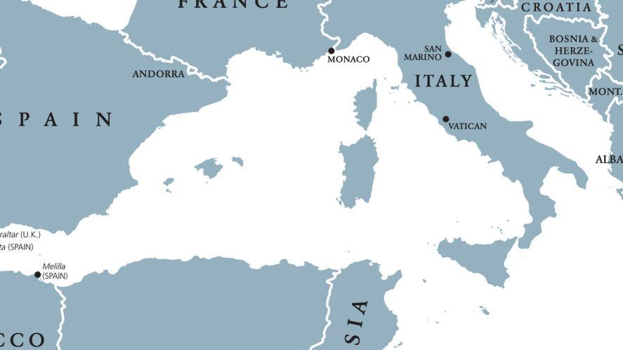 A map of the Mediterranean Sea