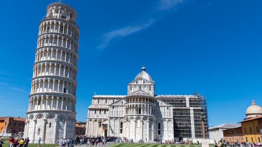A leaning tower somewhere in Italy
