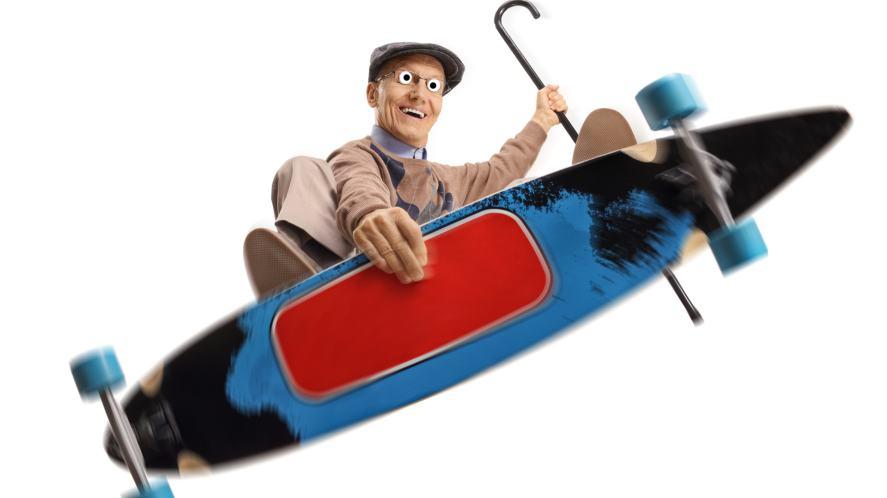 Skateboarding grandpa