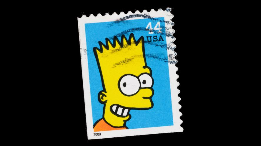 A Bart Simpson postage stamp