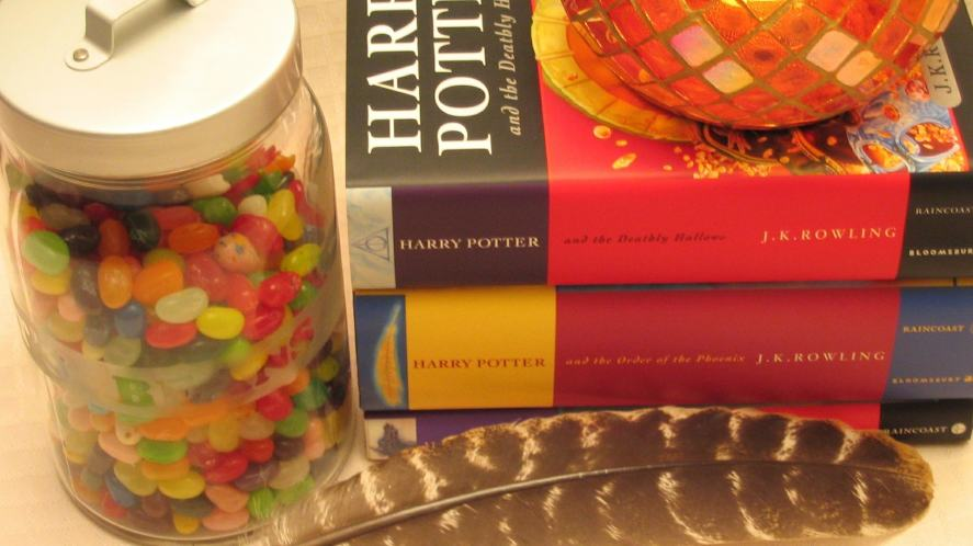 Some of the Harry Potter books, some jelly beans and a feather