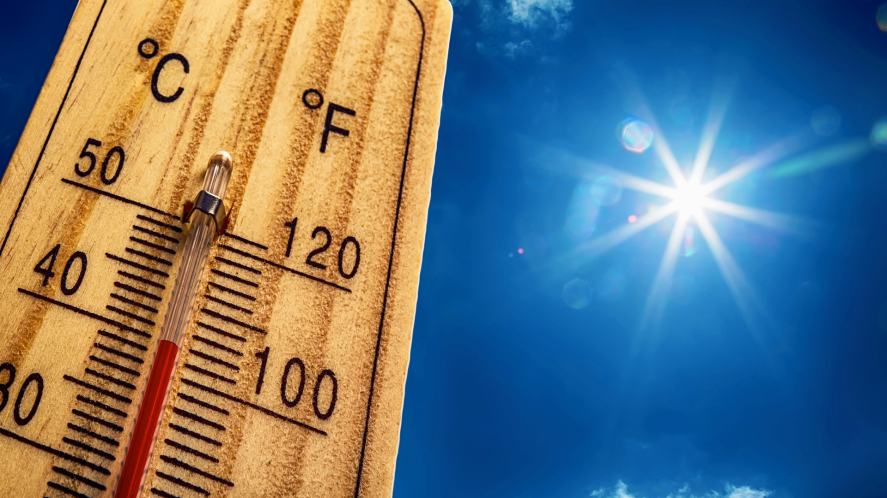 A thermometer show Celsius and Fahrenheit