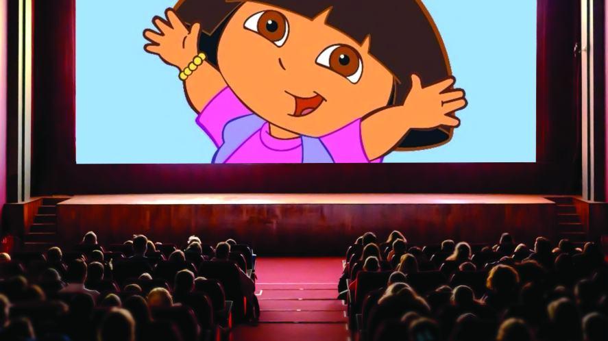 The Dora the Explorer cartoon on the big screen