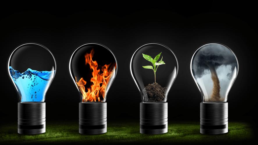 Four elements encased in tiny lightbulbs