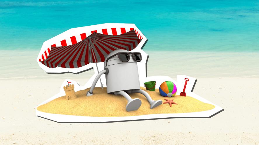 Robot on holiday
