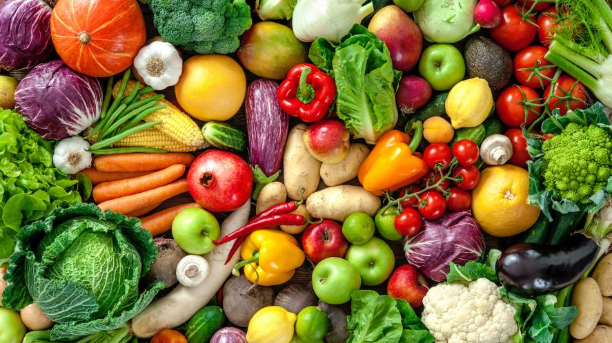 A selection of delicious fruit and vegetables