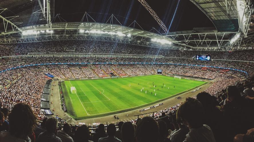 A crowded football stadium