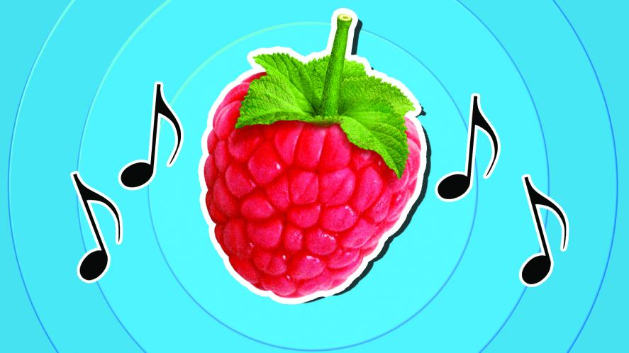 A raspberry surrounded by musical notes