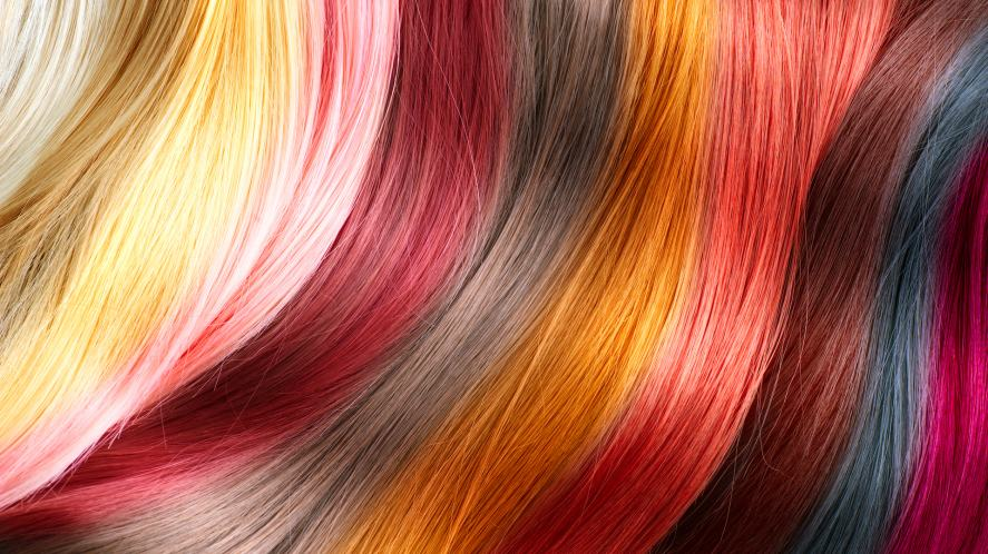 A hairstyle with many different colours