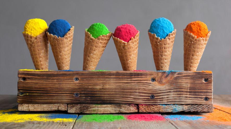 Colourful ice cream cones