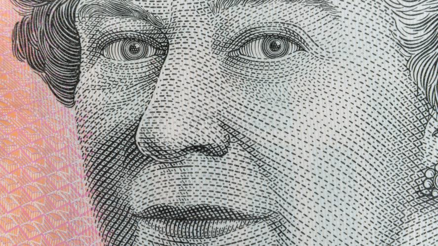 A close-up of a £10 note
