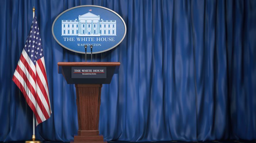 The White House press room podium