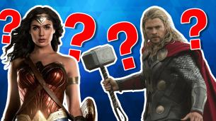 Superhero quiz image featuring Wonder Woman and Thor