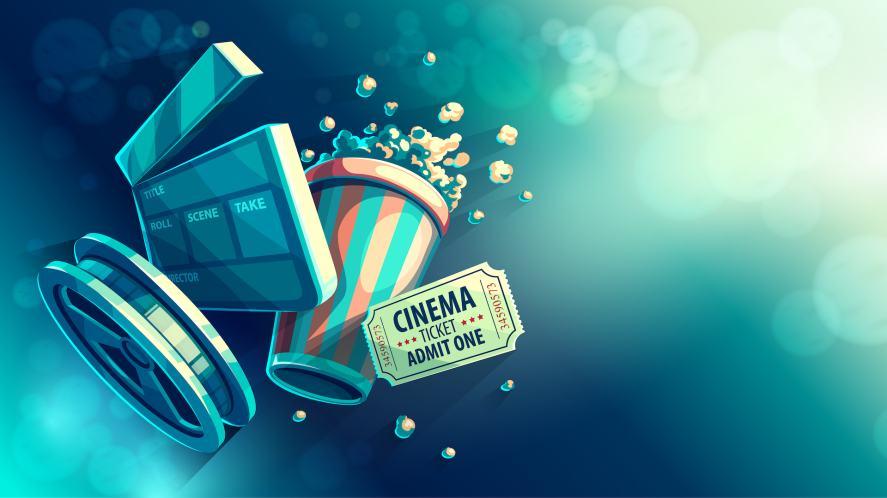 Cinema clapperboard, popcorn