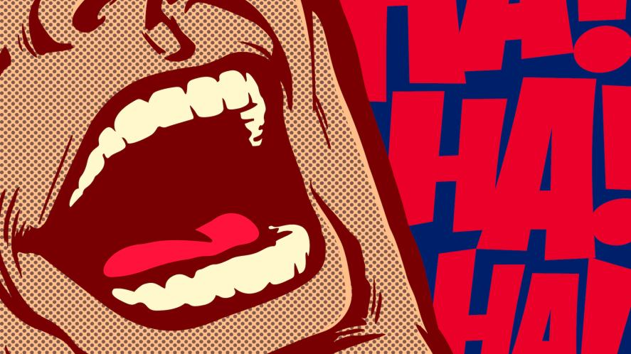 A pop art image of a man laughing