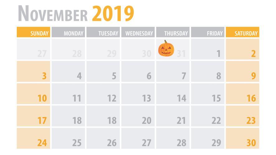 November 2019 calendar page