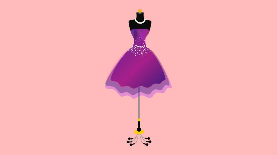 A fancy dress on a stand
