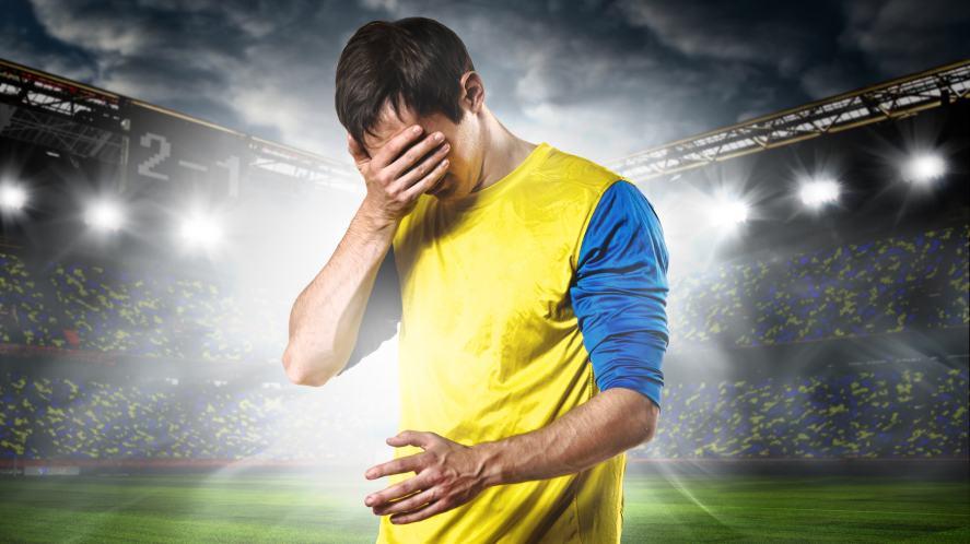 A sad football player