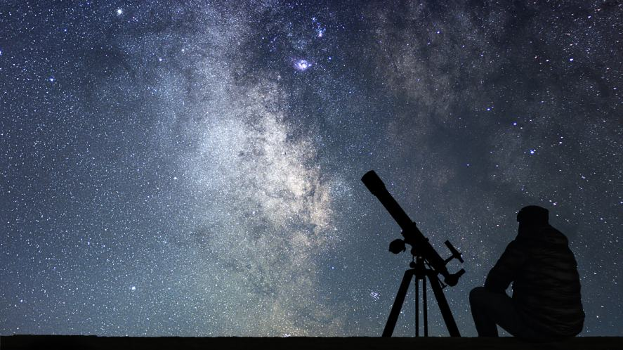 The stars and a man with a telescope