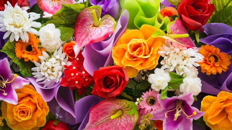 A colourful display of fresh flowers