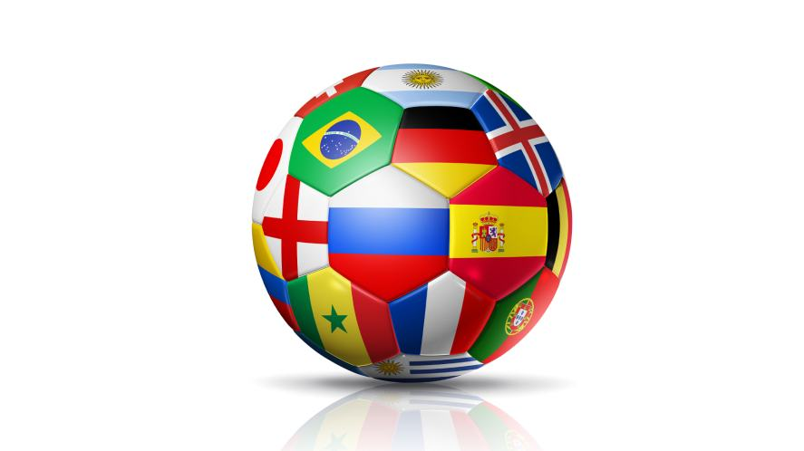 A football decorated with lots of International flags