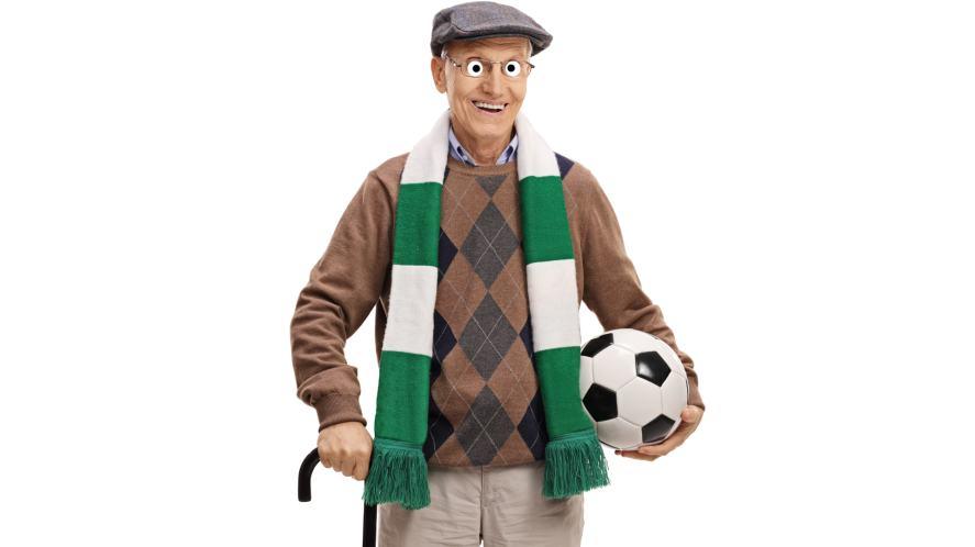 An elderly football fan