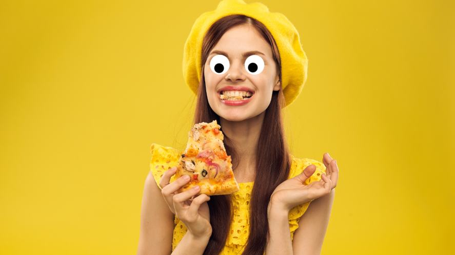 Eating a slice of cold pizza