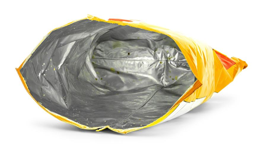 An empty bag of crisps