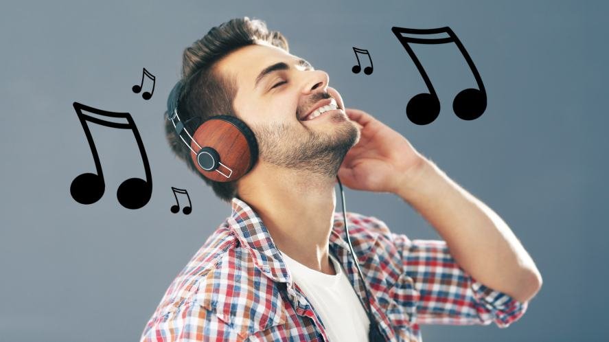A man listening to music