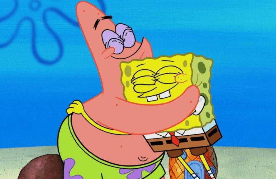Patrick and SpongeBob hugging