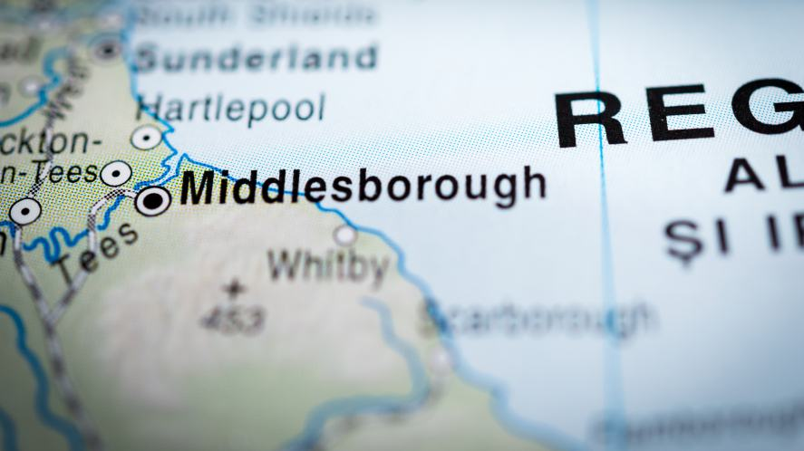 A map highlighting the town of Middlesborough