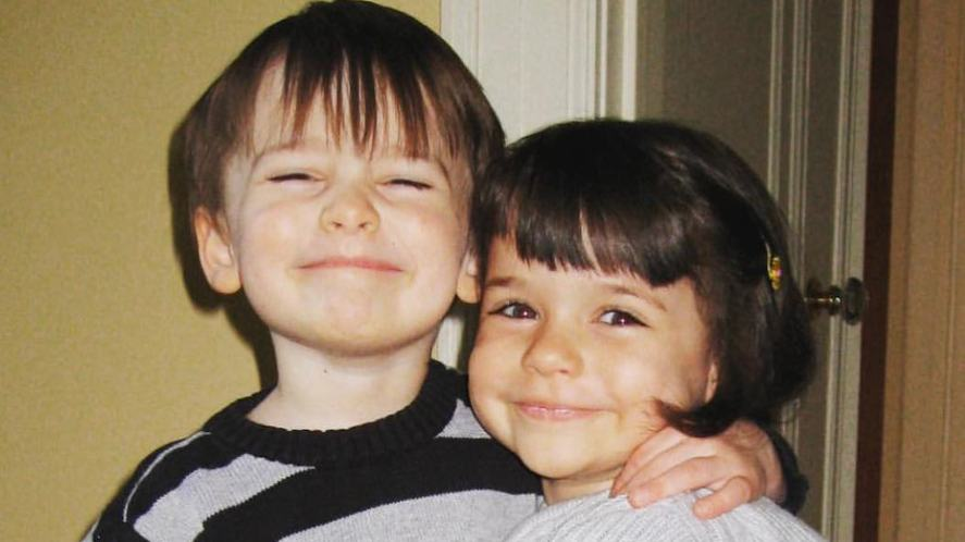 Noah Schnapp with his twin sister