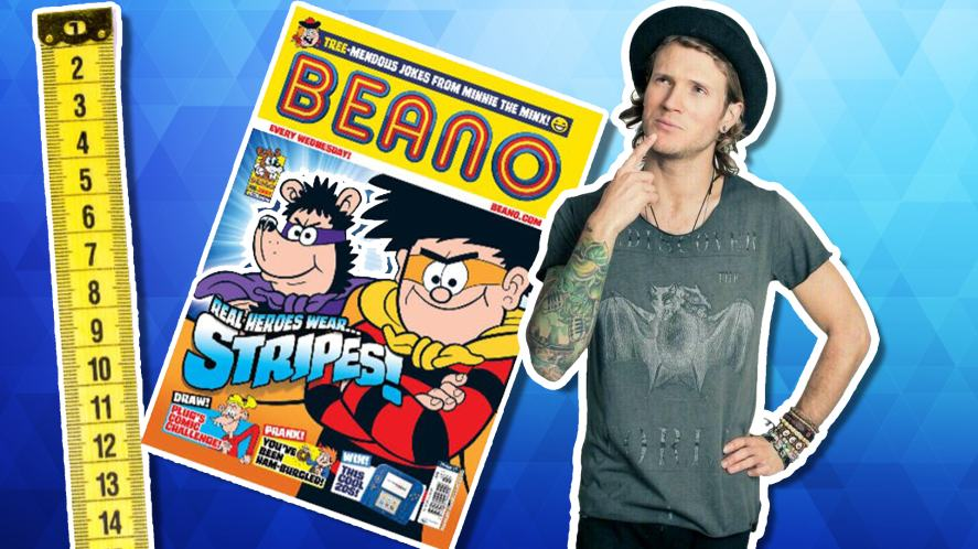 Dougie standing against a copy of the Beano
