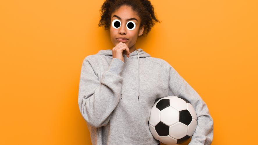 A woman thinking about how much she loves football