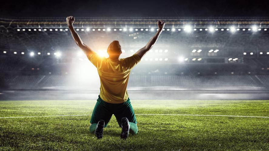 A football player celebrating a goal