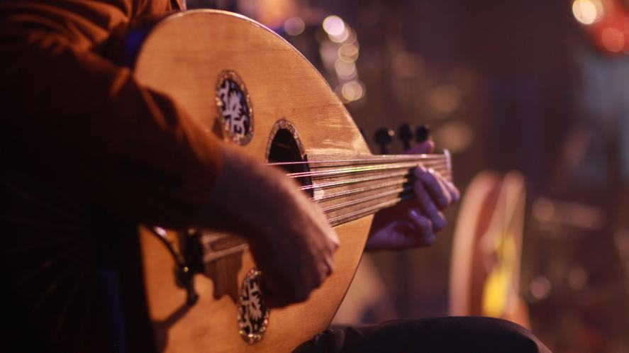 A person jamming on a lute