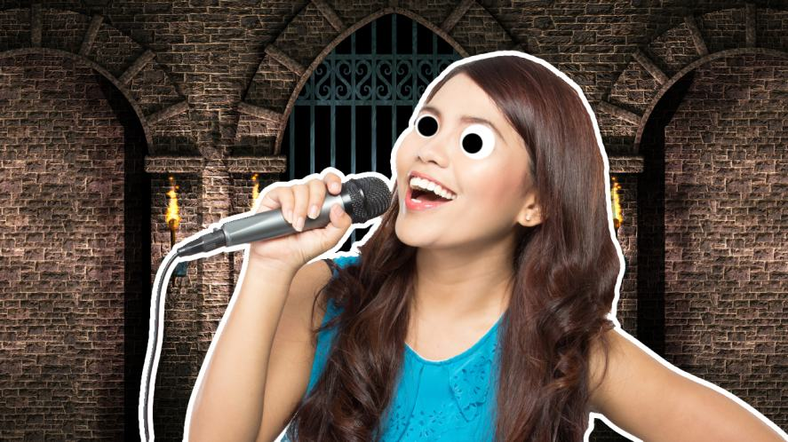 A singer in a castle dungeon