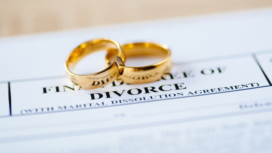 Two wedding rings and divorce papers