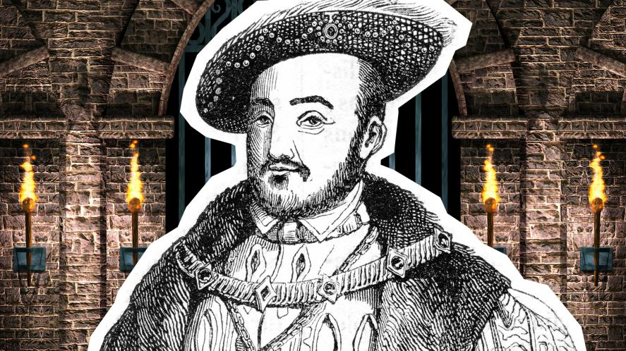 A black and white illustration of Henry VIII