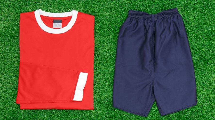 Football kit neatly laid out
