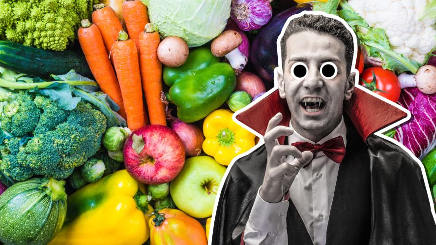 A vampire and a pile of fresh vegetables